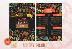 Plantilla del diseño del menú del café de la panadería Fotos de archivo