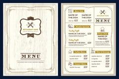 Plantilla del diseño del menú del restaurante o del café con el marco retro del vintage stock de ilustración