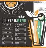 Plantilla del diseño del menú para el salón de cóctel ilustración del vector