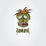 Plantilla del diseño del vector de la cara del zombi Foto de archivo libre de regalías