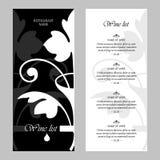 Plantilla del diseño del vector de la carta de vinos - estilo retro Fotografía de archivo