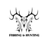 plantilla del diseño del vector del emblema del vintage de la pesca ilustración del vector