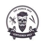 Plantilla del diseño del vintage de Barber Shop Logo Retro del cráneo Ilustración del vector ilustración del vector