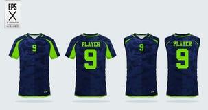 Plantilla del diseño del deporte de la camiseta para el jersey de fútbol, el equipo del fútbol y el top sin mangas para el jersey stock de ilustración