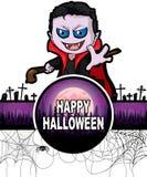 Plantilla del diseño del feliz Halloween con Drácula Imagen de archivo libre de regalías