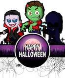 Plantilla del diseño del feliz Halloween con Drácula, el zombi y oscuro con referencia a Fotografía de archivo