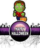 Plantilla del diseño del feliz Halloween con el zombi Fotos de archivo