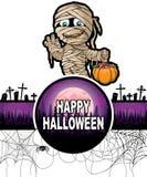 Plantilla del diseño del feliz Halloween con la momia divertida Foto de archivo libre de regalías