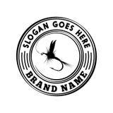 Plantilla del diseño del logotipo de la pesca con mosca Vector y ejemplo stock de ilustración