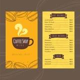 Plantilla del diseño del menú del precio de la cafetería del vector libre illustration