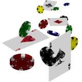 Plantilla del diseño del póker del casino Juego de los aces y de los microprocesadores del póker que cae Foto de archivo libre de regalías