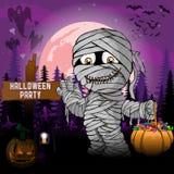 Plantilla del diseño del partido de Halloween, con la momia, la calabaza y la lámpara Fotos de archivo libres de regalías