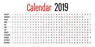 Plantilla del diseño del planificador de 2019 calendarios Fotografía de archivo libre de regalías