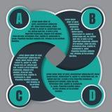 Plantilla del diseño del vector de Infographic con cuatro pasos ABCD foto de archivo libre de regalías