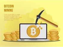 Plantilla del diseño del vector del ejemplo del concepto de la explotación minera de Bitcoin libre illustration