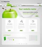 Plantilla del diseño web con la manzana Fotografía de archivo