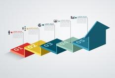 Plantilla del diseño de Infographic con la estructura del paso encima de la flecha Fotos de archivo