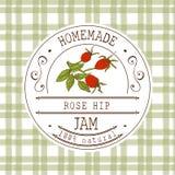 Plantilla del diseño de la etiqueta del atasco para el producto del postre de la cadera de Rose con la mano dibujada bosquejó la  Fotografía de archivo libre de regalías
