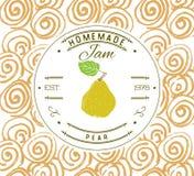 Plantilla del diseño de la etiqueta del atasco para el producto del postre de la pera con la mano dibujada bosquejó la fruta y el Imagen de archivo libre de regalías