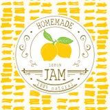 Plantilla del diseño de la etiqueta del atasco para el producto del postre del limón con la mano dibujada bosquejó la fruta y el  Imagen de archivo