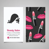 Plantilla del diseño de la tarjeta de visita del salón de belleza con el woman hermoso Imagen de archivo