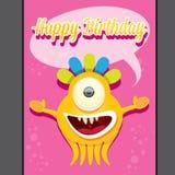 Plantilla del diseño de tarjeta del feliz cumpleaños del partido del monstruo Imágenes de archivo libres de regalías