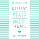 Plantilla del diseño de tarjeta del menú del postre Foto de archivo libre de regalías