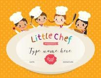 Plantilla del diseño del certificado de la clase de cocina de los niños Imágenes de archivo libres de regalías
