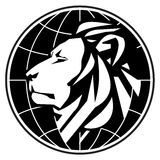 Plantilla del diseño del logotipo del vector del negocio león o parque zoológico Imagenes de archivo