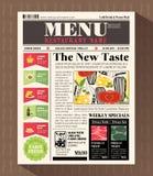 Plantilla del diseño del menú del restaurante en estilo del periódico Fotos de archivo