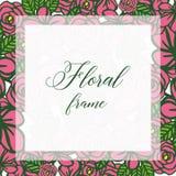 Plantilla del ejemplo del vector con las rosas rosadas florales del marco de la muchedumbre de la decoración libre illustration