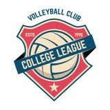 Plantilla del emblema con la bola del voleibol Diseñe el elemento para el logotipo, etiqueta, muestra fotografía de archivo libre de regalías