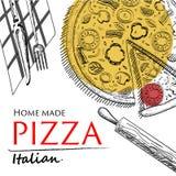 Plantilla del estilo del dibujo de la cubierta de la comida de la pizza Fotografía de archivo libre de regalías