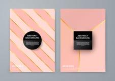 Plantilla del folleto con el goldbackground color de rosa Fotos de archivo libres de regalías