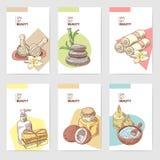 Plantilla del folleto de la belleza de la salud del balneario Tarjetas de los elementos de la salud del Aromatherapy Tratamiento  stock de ilustración