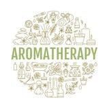 Plantilla del folleto del Aromatherapy y de los aceites esenciales ilustración del vector