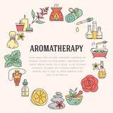 Plantilla del folleto del Aromatherapy y de los aceites esenciales stock de ilustración