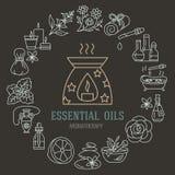 Plantilla del folleto del Aromatherapy y de los aceites esenciales Vector la línea ejemplo de difusor del aromatherapy, hornilla  ilustración del vector