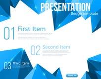 Plantilla del folleto del vector con los triángulos azules Imagenes de archivo