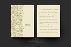 Plantilla del folleto del vector del ornamento floral Disposición del aviador Imágenes de archivo libres de regalías