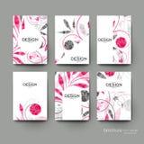 Plantilla del folleto del vector del ornamento floral Disposición del aviador Fotos de archivo