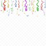 Plantilla del fondo de la celebración con confeti y cintas coloridas Vector Fotos de archivo