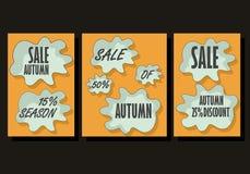 Plantilla del fondo de la venta del otoño Cartel, tarjeta, etiqueta, sistema del diseño de la bandera Disposiciones para la venta Fotos de archivo