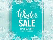 Plantilla del fondo del vector de la venta del invierno con los elementos de los copos de nieve libre illustration