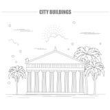 Plantilla del gráfico de los edificios de la ciudad Acrópolis Stock de ilustración