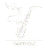 Plantilla del gráfico de los instrumentos musicales saxophone Foto de archivo libre de regalías