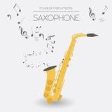 Plantilla del gráfico de los instrumentos musicales saxophone Fotografía de archivo