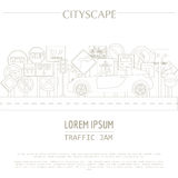 Plantilla del gráfico del paisaje urbano Ciudad moderna Ilustración del vector stock de ilustración