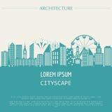 Plantilla del gráfico del paisaje urbano Configuración moderna de la ciudad stock de ilustración