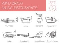 Plantilla del gráfico de los instrumentos musicales Latón del viento Fotos de archivo